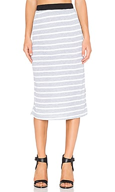 NYTT Ribbed Midi Skirt in Heather Grey & White Stripe