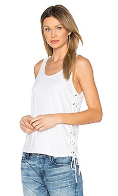 Lace Up Tank in Oyster