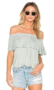 Off Shoulder Ruffle Top in Sage