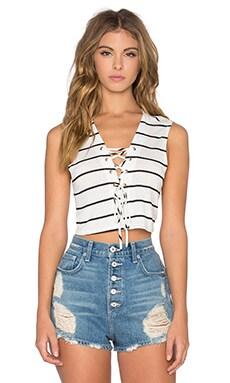 NYTT Hailey Crop Top in Ivory Stripe