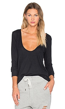 Low Cut Long Sleeve Top in Black