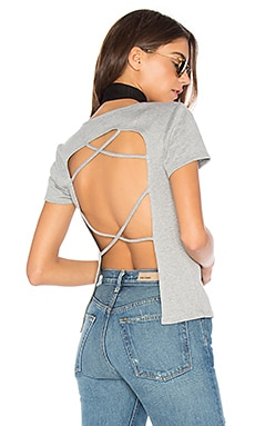 Open Back Tee in Heather Grey