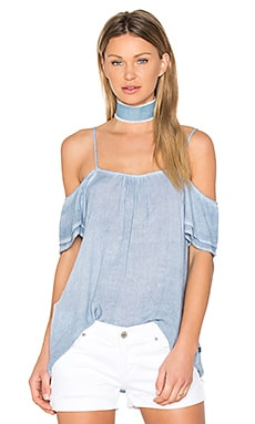 Exposed Shoulder Tee in Blue