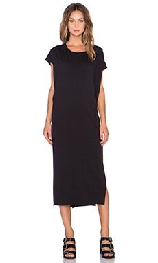 OAK Side Pleat Box Maxi Dress in Black