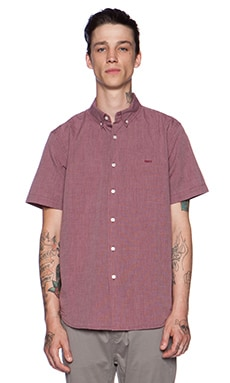 Obey Dillon Button Down in Burgundy