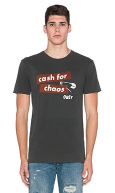 Obey Cash For Chaos Tee in Dusty Black