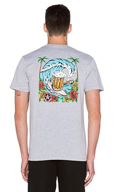 Obey Cold Beer Pocket Tee in Heather Grey