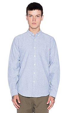 Obey Quality Dissent Oxford Button Up in Heather Navy