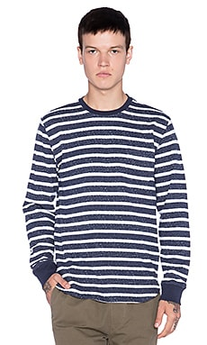 Obey Alameda Stripe Tee in Heather Vintage Indigo
