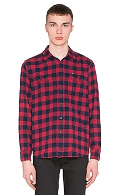 Obey Raymond Button Down in Heather Burgundy Multi