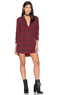 Obey Bex Shirt Dress in Burgundy Multi