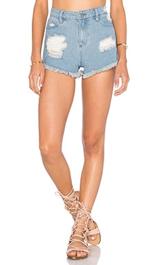 Obey Saloon Short in Distressed Indigo