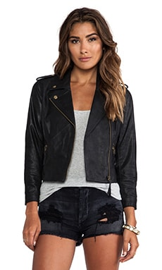 Obey Hitchhiker Suede Jacket in Coated Black
