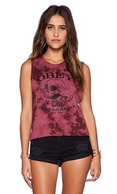 Obey Broken Bottles Moto Tank in Burgundy Tie Dye