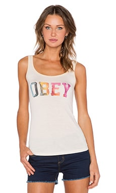 Obey Collegiate Watercolor Tank in White Smoke