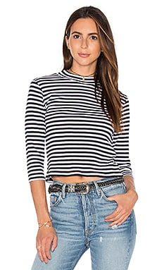 Coastal Mock Neck Top en Imprimé Noir