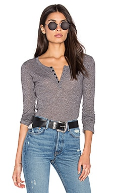 Obey Westling Henley Top in Heather Grey