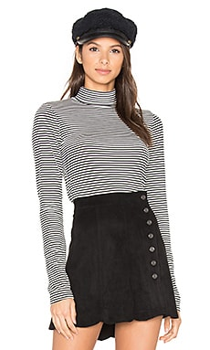 Alexa Long Sleeve Mock Neck en Imprimé Noir