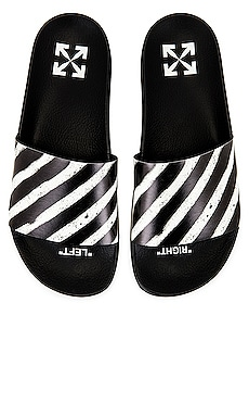 Diagonal Stripes Slide Sandals OFF-WHITE $170 NEW