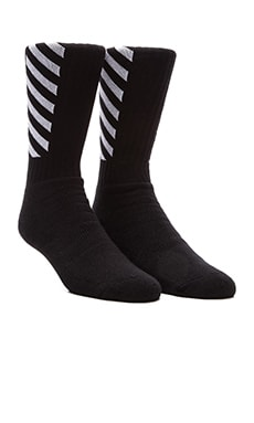 OFF-WHITE Striped Socks in Black