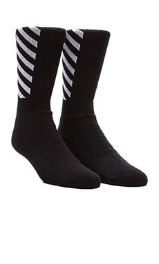 OFF-WHITE Striped Socks in Black