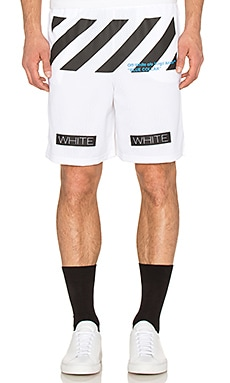 OFF-WHITE Blue Collar Mesh Short in White & Cobalt Blue