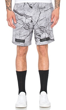 OFF-WHITE Marble Print Fleece Shorts in All Over Black