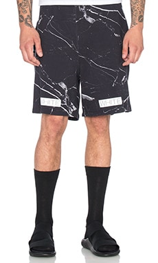 OFF-WHITE Marble Print Fleece Shorts in All Over White