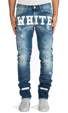 OFF-WHITE Jean with White Texted in Vintage Wash