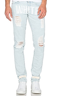 OFF-WHITE Bleach Slim Fit 5 Pocket Jean in Bleach White
