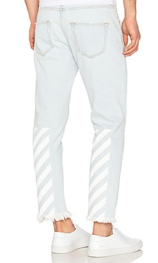 OFF-WHITE Slim Fit Crop Jean in Bleach White