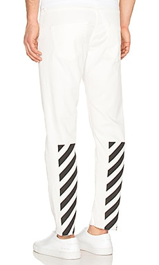 OFF-WHITE Slim Fit Crop Jeans in White Blac
