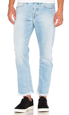 OFF-WHITE Slim Fit Crop Denim in Bleach Light Blue