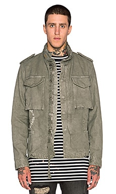 OFF-WHITE Basic Indian Jacket in Military Green/White