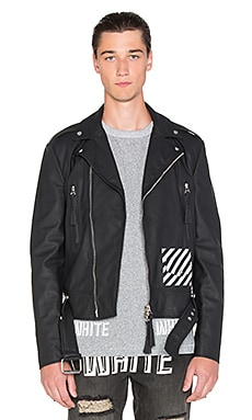 OFF-WHITE Moto Leather Jacket in Black & White