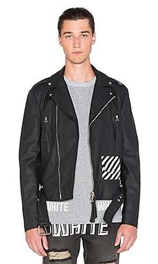 OFF-WHITE Moto Leather Jacket in Black & White
