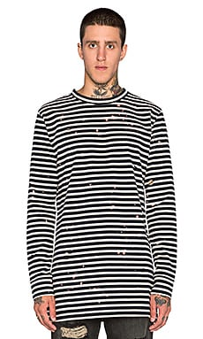 OFF-WHITE Stripe Long Sleeve Tee in Dark Blue Black