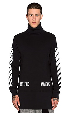 OFF-WHITE Waffle Turtleneck L/S in Black/White