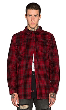 OFF-WHITE Tartan Button Up in Red & Black