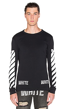 OFF-WHITE 3D White Long Sleeve Tee in Black & White