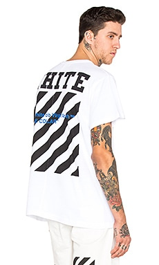 OFF-WHITE Blue Collar Tee in White & Cobalt Blue