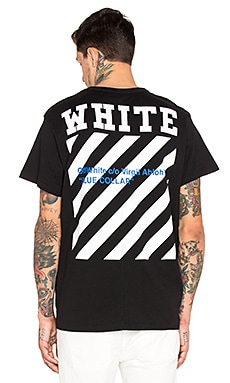 OFF-WHITE Blue Collar Tee in Black & Cobalt Blue