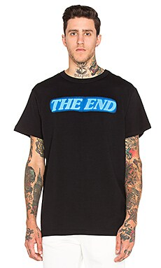 OFF-WHITE The End Tee in Black & Light Blue