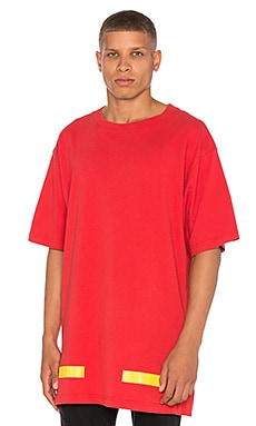 OFF-WHITE Arrows Tee in Split Red & Yellow