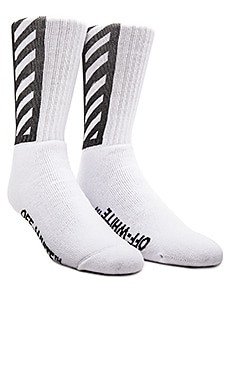 OFF-WHITE Brushed Diagonal Socks in White & Black