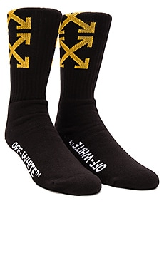 OFF-WHITE Arrows Socks in Black & Yellow