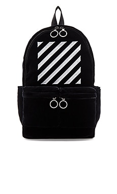 OFF-WHITE Velvet Diagonals Backpack in Black & White