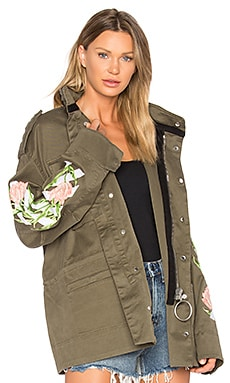 Tulips M65 Jacket in White, Military Green & Multi