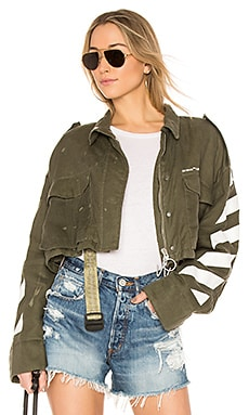 Diagonal Cropped M65 Military Jacket