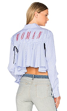 Back Ruffle Striped Shirt in All Over Red